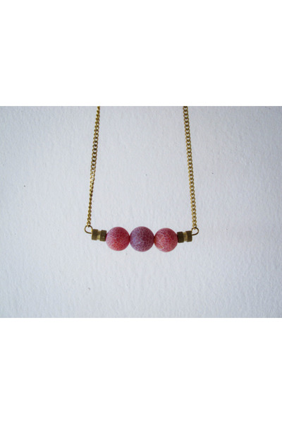 ruby red agate brass A Little Dot necklace