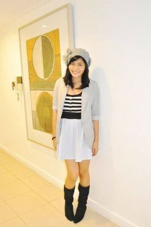 Thrift Store dress - black from canada boots - gray Thrift Store blazer - gray F