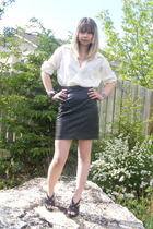 Moores blouse - skirt - Burberry shoes - le chateau accessories