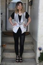 joe fresh style shirt - le chateau vest - American Apparel leggings - Urban Outf