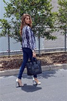 purple H&M blazer - blue jeans - black Celine bag