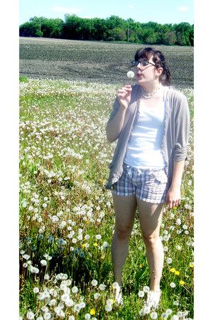 white tank top shirt - pink plaid Unionbay shorts - Maurices cardigan - sandals
