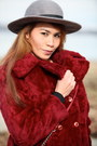 Crimson-coat-black-boots-charcoal-gray-hat-crimson-bag