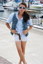 white Old Navy shorts - blue Old Navy shirt - blue Simply Vera Wang wedges shoes