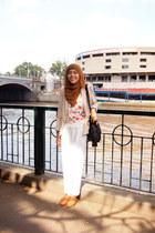 beige Zara jacket - black Nine West bag - tawny vincci accessories flats - white