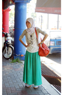 Green-skirt-white-topshop-shoes-orange-dotti-beige-supre