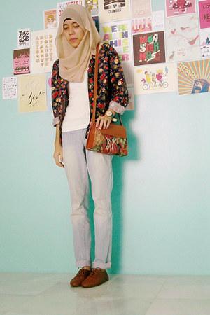 bag - light blue Just jeans jeans - Pop That Penny shirt - brown vincci accessor