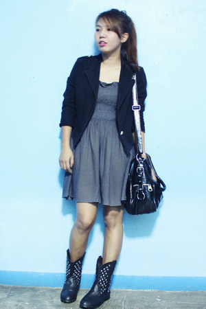 black thrifted boots - charcoal gray thrifted dress - black thrifted blazer
