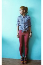 mustard thrifted shoes - sky blue thrifted shirt - maroon thrifted pants