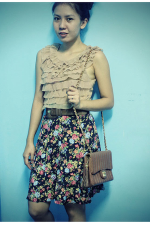 beige top - brown purse - skirt - beige shoes