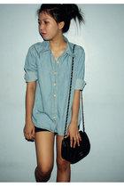 blue shirt - black shorts - black purse