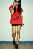 red shirt - black skirt - black shoes - black glasses - accessories
