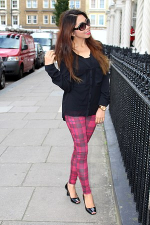plaid Bershka leggings - sheer Bershka shirt - Guess sunglasses - Prada wedges