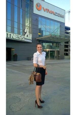 brown scarf - white H&M shirt - brown Avon bag - black Mango skirt