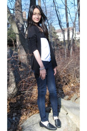 navy skinny Macys jeans - white DIY shirt - black Lace-Backed cardigan