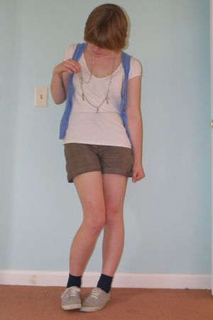 blue H&M vest - white second hand t-shirt - brown handmade shorts - blue Walmart