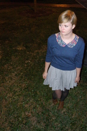 navy T J Maxx sweater - heather gray Newlook dress - dark brown thrifted vintage