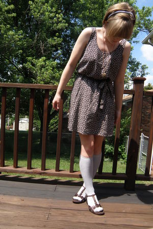 black H&M dress - gray Target socks - brown Clarks shoes - gold Primark necklace