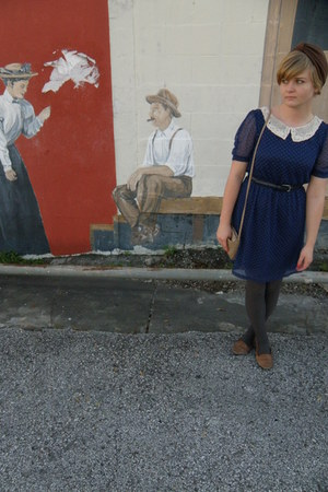 navy modcloth dress - brown vintage hat - brown thrifted shoes - camel thrifted 