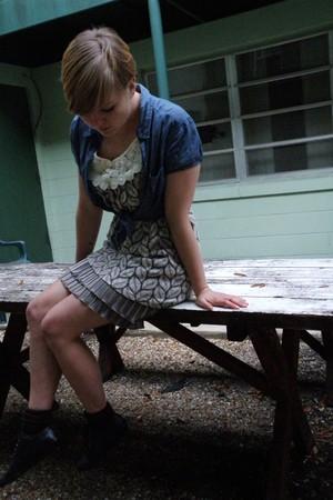 brown yumi dress - blue H&M shirt - black Bakers shoes - dark brown socks