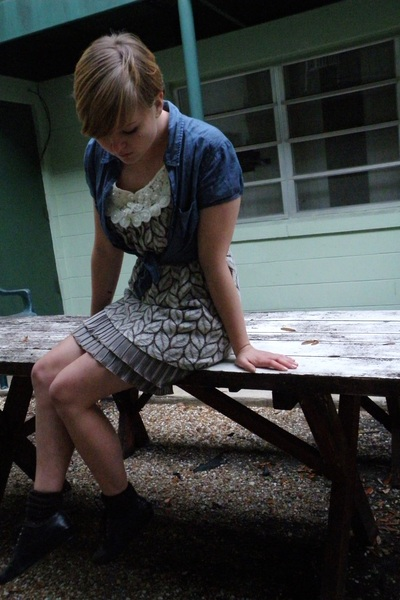 brown yumi dress - blue H&M shirt - black Bakers shoes - dark brown socks