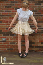 blue vintage top - beige self-made skirt - black Bakers shoes - black gift brace