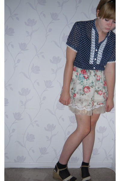 blue vintage shirt - beige Wet Seal skirt - black H&M socks - so old i have no i