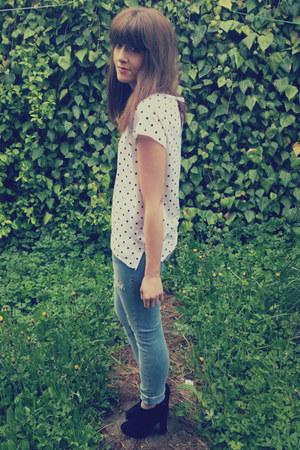 ripped H&M jeans - polka dot H&M top