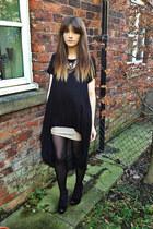 sparkle H&M skirt - dip hem River Island dress - studded new look heels