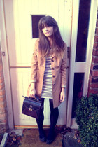 ankle strap Zara flats - striped H&M dress - mac new look coat