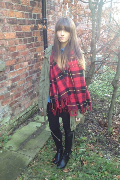 studded H&M boots - khaki H&M coat - denim Ebay shirt - tartan H&M scarf