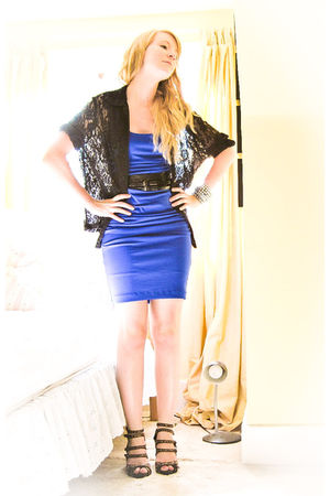 brown Forever 21 shoes - blue le chateau dress - black blouse - black asos belt
