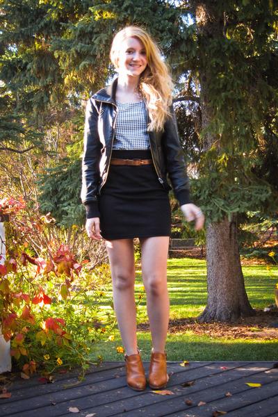brown boots black h m shirts black skirts black jackets