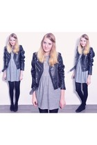 leather jacket jacket - skater dress Topshop dress - H&M flats