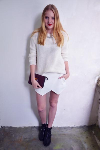 H&M necklace - Topshop boots - SANDRO bag - Zara skirt - H&M jumper