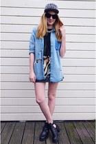 Monki hat - Topshop boots - Monki blouse - Secondhand skirt - H&M necklace