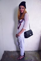 H&M top - new look jeans - Ebay hat - Zara heels