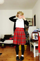ruby red vintage skirt - white vintage blouse - black Zara cardigan