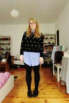 black creepers shoes - black cotton on sweater - black H&M leggings