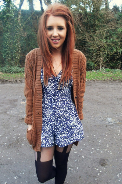 Primark romper - Primark tights - new look cardigan