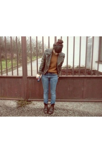 brown second-hand boots - teal Levis jeans - dark brown Luella for Target jacket
