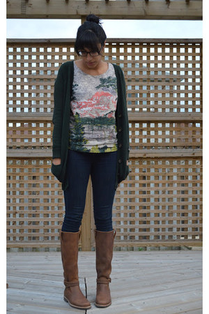 FCUK shirt - leather ROOTS boots - skinny Levis jeans - grandma Zara cardigan