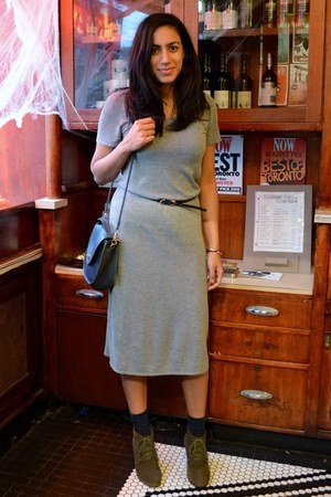 wool maxi H&M dress - navy leather thrifted vintage bag - skinny Zara belt
