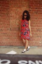 chiffon dress - Betsey Johnson sunglasses - Keds sneakers