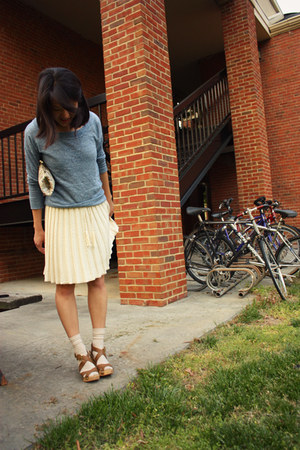 Moda International dress - madewell sweater - Bagatelles & Co bag - HUE socks -