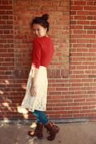 ivory Forever 21 skirt - dark brown Steve Madden boots - ruby red BDG sweater