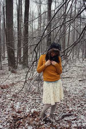 J Crew sweater - Target boots - hat - lace Forever 21 skirt