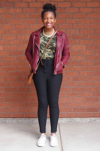 Forever 21 jacket - camo shirt - riding pants American Apparel pants