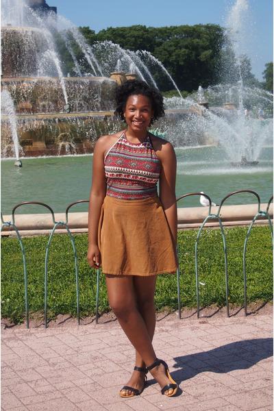 brick red tribal halter tribal shirt shirt - bronze American Apparel skirt