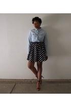 sky blue shirt - black poika dot skirt